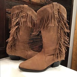 Vibram Leather Suede Cowboy Boot with Fringe 5.5